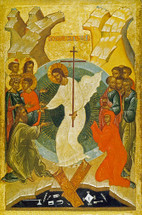 Icon of the Resurrection - 13th c. Russian  - (11K08)