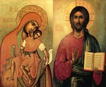"""Icon Set: Theotokos """"Eleusa-Kiksk"""" & Pantocrator - 17th c. - Moscow (MCT17)"""