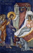Icon of Christ Healing Jairus' Daughter - (11L52)