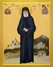 Icon of Saint Paisios the Athonite (standing with heavenly intercessors) - (1PA45)