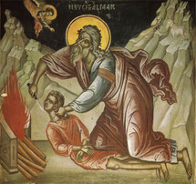 Icon of the Sacrifice of Abraham - 16th c. (Stavronikita) - (1AB10)