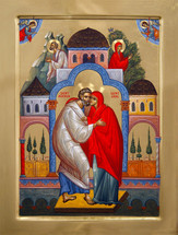 Icon of Sts. Joachim & Anna, embracing - (1JA93)