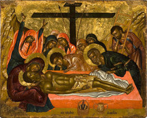 Icon of the Lamentation at the Tomb, 17th c. - (11J16)