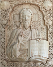 Wood-carved Icon of Christ the Teacher - (WC00)