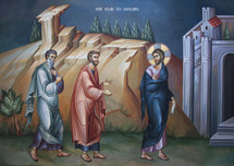 Icon of the Meeting on the Road to Emmaus - (English) - (11L08)