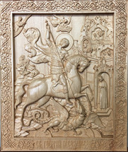 Wood-carved Icon of St. George the Greatmartyr - (WC07)