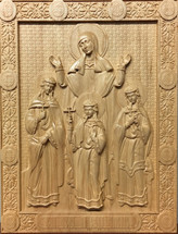 Wood-carved Icon of Sts. Sophia, Faith, Hope and Love - (WC08)