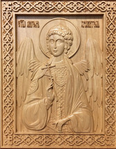 Wood-carved Icon of the Guardian Angel - (WC09)
