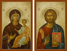 Icon Set: Christ the Savior & the Theotokos - 20th c. (MCT18)