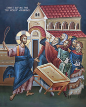 Icon of Christ driving out the Money Changers - (English) - (11P04)