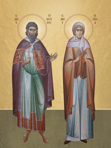 Icon of Sts. Timothy & Maura - (standing) - (1TI30)