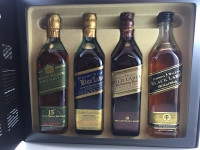 SOLD! JOHNNIE WALKER GREEN BLUE GOLD BLACK LABEL GIFT PACK 200ML