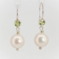 Peridot and Pearl Drop Earrings