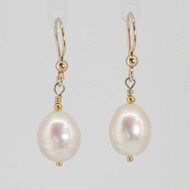 Freshwater Pearl & Gold Earrings