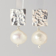 Hammered Silver & Pearl Ear Studs