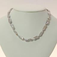 Silver Biwa Pearl Necklace
