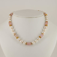 Pink Beryl With Pearls & Gold