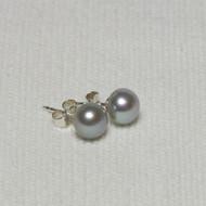 Silver Grey Pearl Stud Earrings