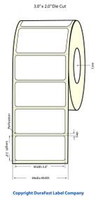 "LX400 | LX200 | 3""x2"" White Glossy Polypropylene (BOPP) Labels 75891G"