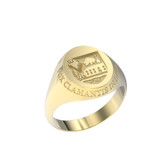 Ring Oval Small Shield 10K with Outer Text