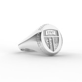 Geisel Ring Oval Large Shield Sterling Silver with Outer Text
