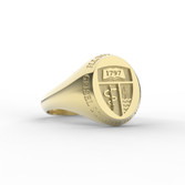 Geisel Ring Oval Small Shield 10K with Outer Text