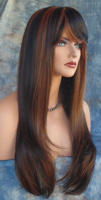 HUMAN HAIR BLEND WIG HEAT SAFE P1B.30 GORGEOUS SEXY LONG STRAIGHT STYLE *241