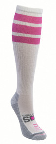 Sugar Free Sox Women's Compression Running Knee High Socks with Pink Tube Sock Striping