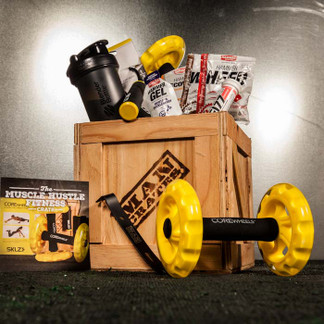 Finish off your workout with our Muscle Hustle Crate - full of supplements and fitness equipment