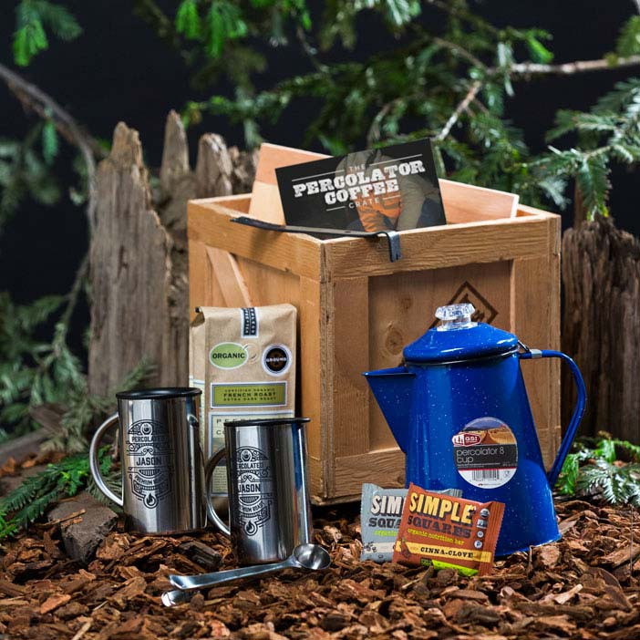 The Coffee Percolator Crate is the old-fashioned way to brew eight cups of classic cowboy coffee in the comforts of the kitchen or campground.