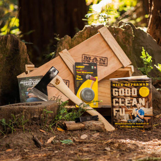 Personalized Camp Axe Crate: Camp Axe, Sharpening Stone, and Nick Offerman's Good Clean Fun