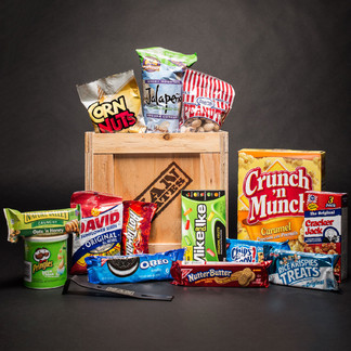 Sweet snacks, savory snacks, candies, cookies, popcorn, nuts, potato chips- everything a man needs to stock his Man Cave.