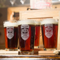 Pint glasses have laser-etched personalization