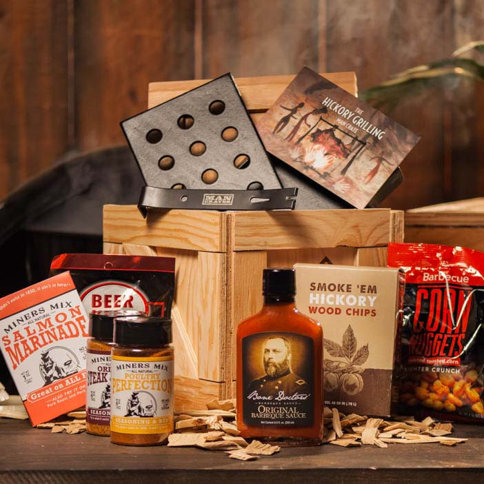 The Hickory Grilling Man Crate  - packed with good stuff for the true grilling aficionado.