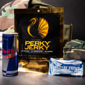 We're also sending you lots of high-energy snacks to keep you at peak performance for your mission- lean, guaranine infused Perky Jerky, RedBull energy drinks, and no-BS military grade caffeinated Stay Alert gum.