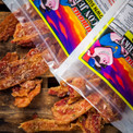Maple brown sugar bacon jerky and honey jalapeno.  We guarantee you've never tasted bacon jerky so delicious.