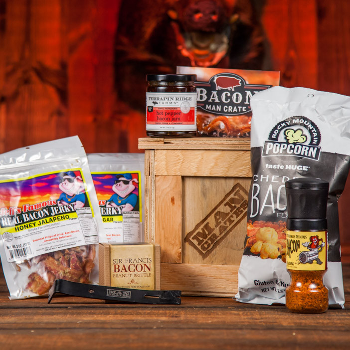 The Bacon Crate: Man's favorite flavor in man's favorite gift container.