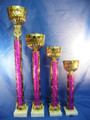Gold Pink Bowl Awards Tall Set of 4