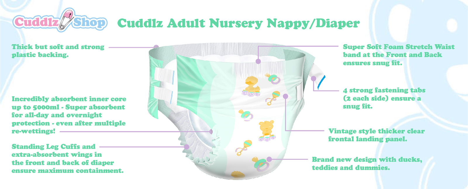 Cuddlz adult nursery nappy / diaper abdl nappies diapers