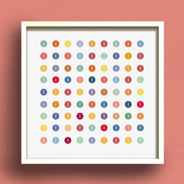 Button Square No.1 print by Dig The Earth