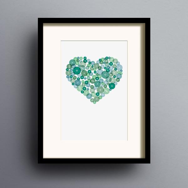 Button Heart in Green print by Dig The Earth