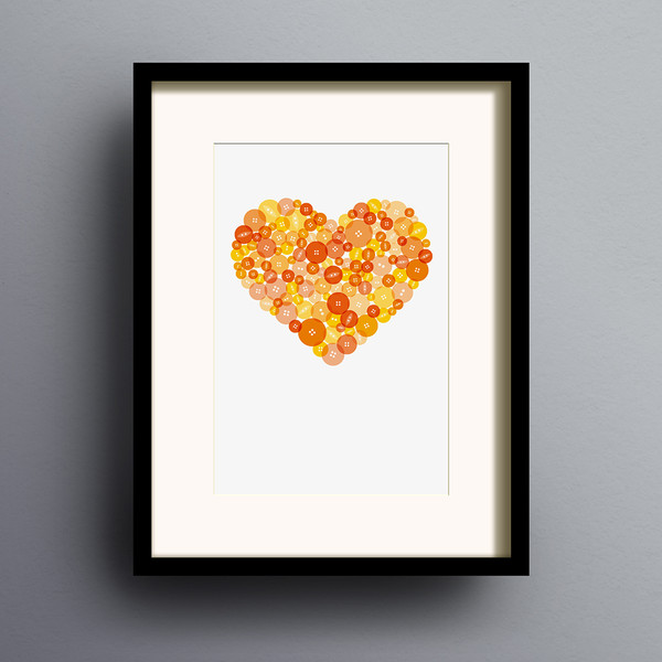 Button Heart in Orange print by Dig The Earth