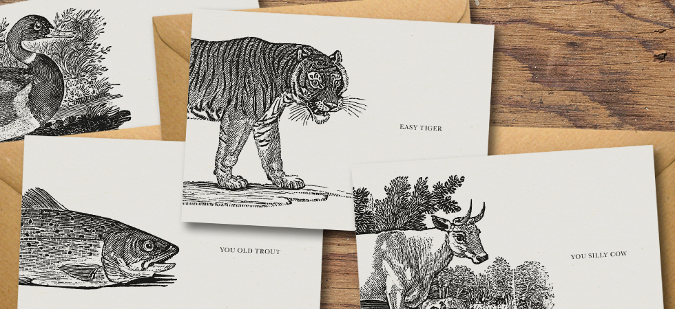 Animal Woodblock Cards by Dig The Earth