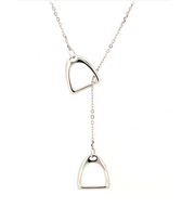 Navika Girl Double Stirrup Necklace Sterling Silver