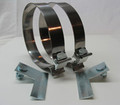 """Dual 7"""" Bright Stainless Stack Clamps + Left and Right Bracket"""