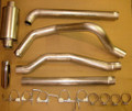 "Ford Exhaust 4"" Turbo-Back Aluminized Steel With Muffler Grand Rock Powerflow Exhaust 7.3L Ford 94-97"