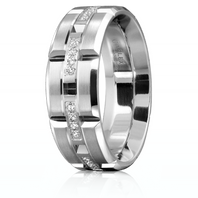 CARLEX WB-9320-Z Platinum 7.5mm Comfort Fit Diamond Wedding Band (.16ct)
