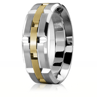 CARLEX WB-9146YW 18kt White Gold 7.5mm Comfort Fit Wedding Band with Yellow Gold Links