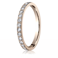 14kt Rose Gold 2mm Pave Set Diamond Eternity Ring - 522721