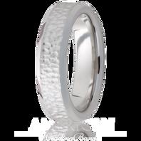 Jewelry Innovations Vitalium® Beveled Edge & Hammered Finish 6mm Comfort Fit Wedding Ring - V6B-H